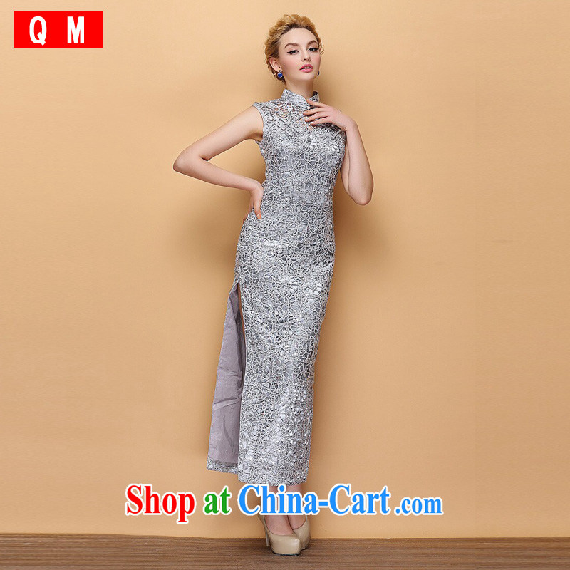 The end is very stylish and improved the collar dress Openwork, cultivating banquet long cheongsam XWGLF 140,301 silver XXXL
