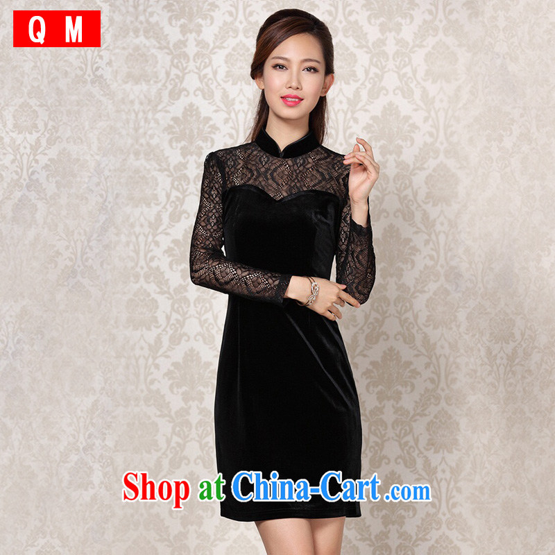 light at the improved stylish and simple lace long-sleeved wool stitching daily outfit XWGQF 13 - 0863 black XXXL