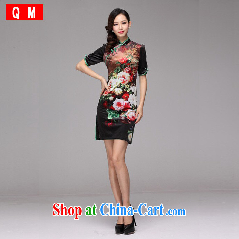 Shallow end wool stamp improved retro fashion cuff short cheongsam XWG picture color XXL