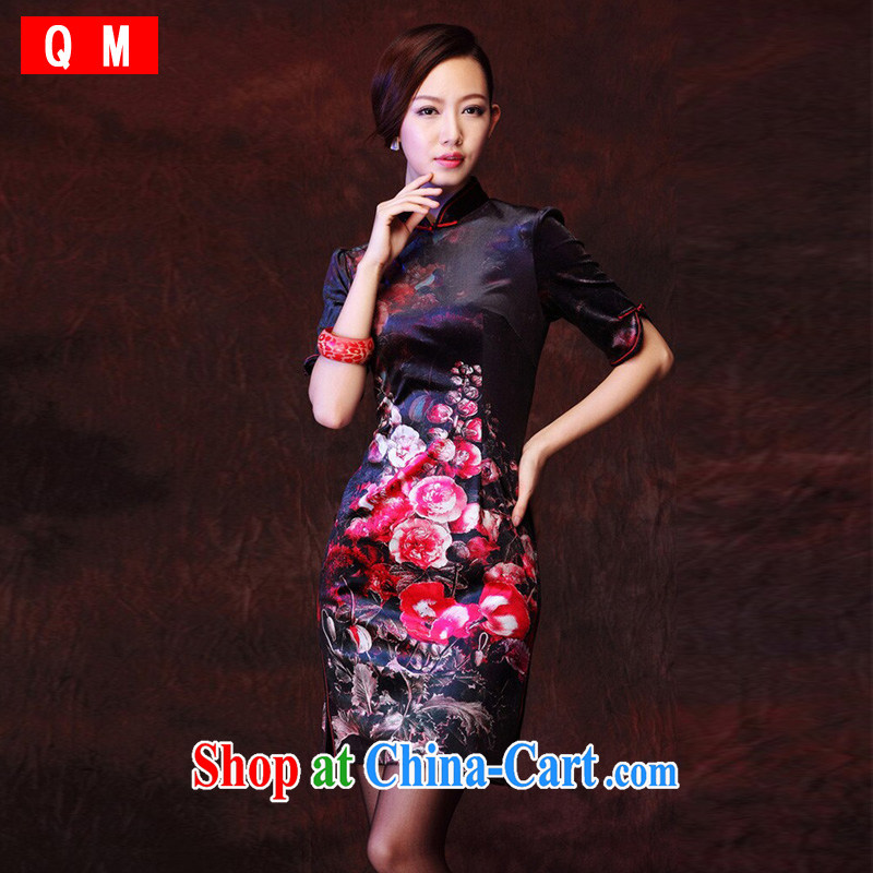 Shallow end female Korean velvet stamp retro improved marriage stylish bows elegant qipao XWG picture color XXXL