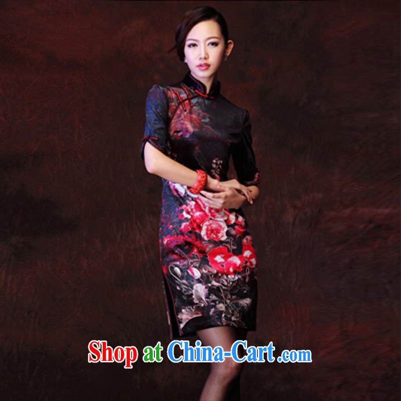 light at the female Korean velvet stamp retro improved marriage stylish bows elegant qipao XWG picture color XXXL, light (at the end) QM, shopping on the Internet