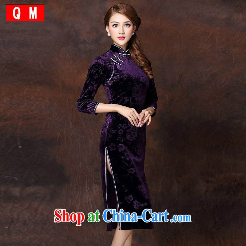 Shallow end improved Stylish retro embossed 7 cuff wool long cheongsam XWGQF 141,008 purple XXXL