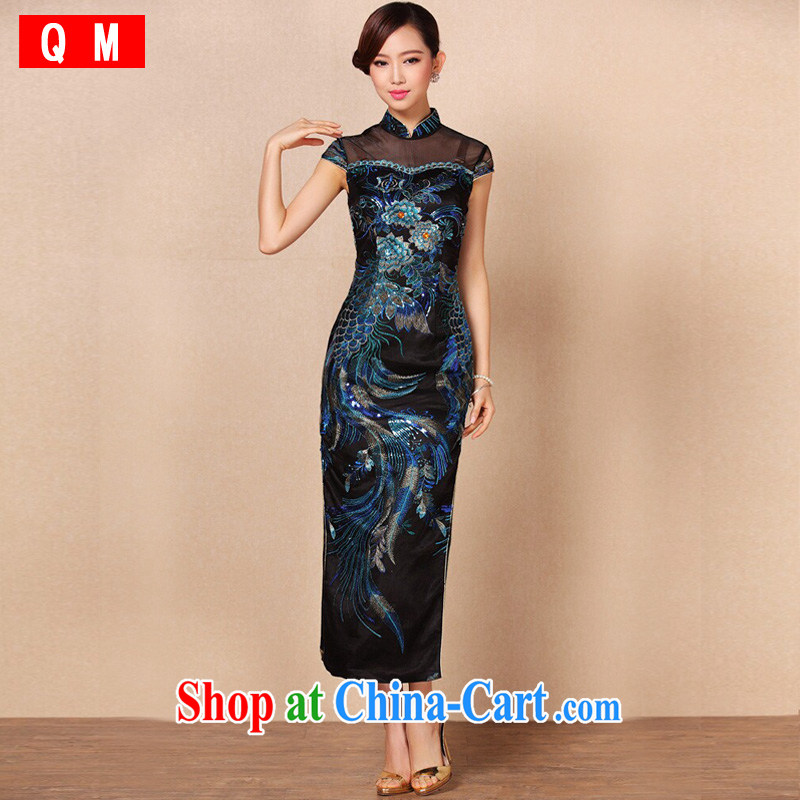 The end is improved and stylish high-power's heavy industry embroidery long cheongsam banquet toast serving XWGF - 1062 royal blue XXL