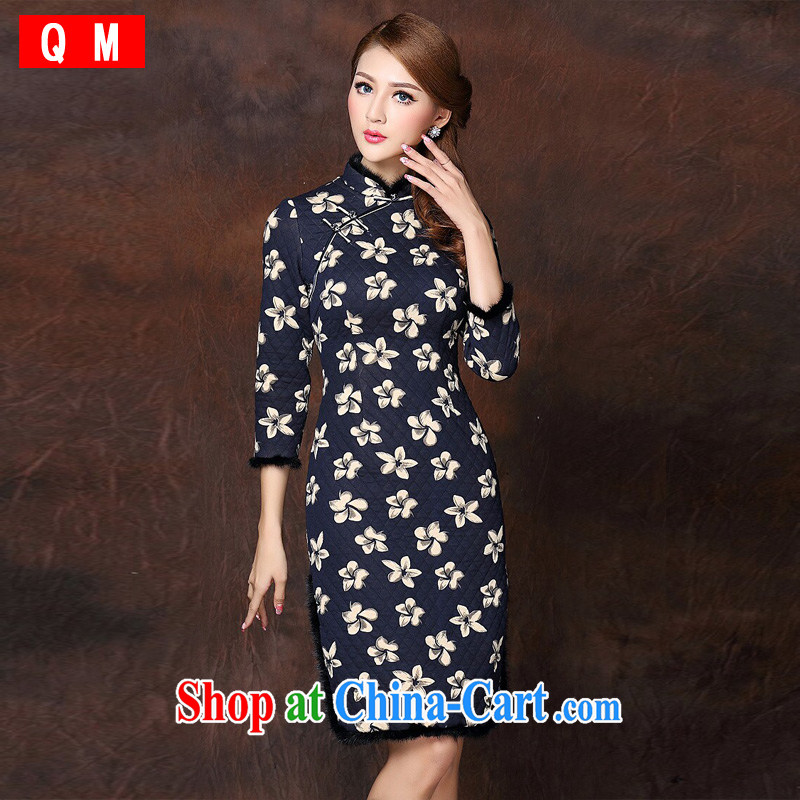 Shallow end improved Stylish retro spell gross 7 cuffs quilted long cheongsam XWGQF 141,010 picture color XXL