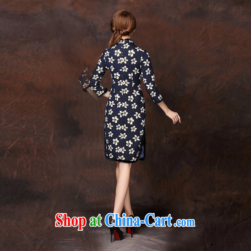The end is improved and Stylish retro spell gross 7 cuffs quilted long cheongsam XWGQF 141,010 picture color XXL, light (at the end) QM, shopping on the Internet