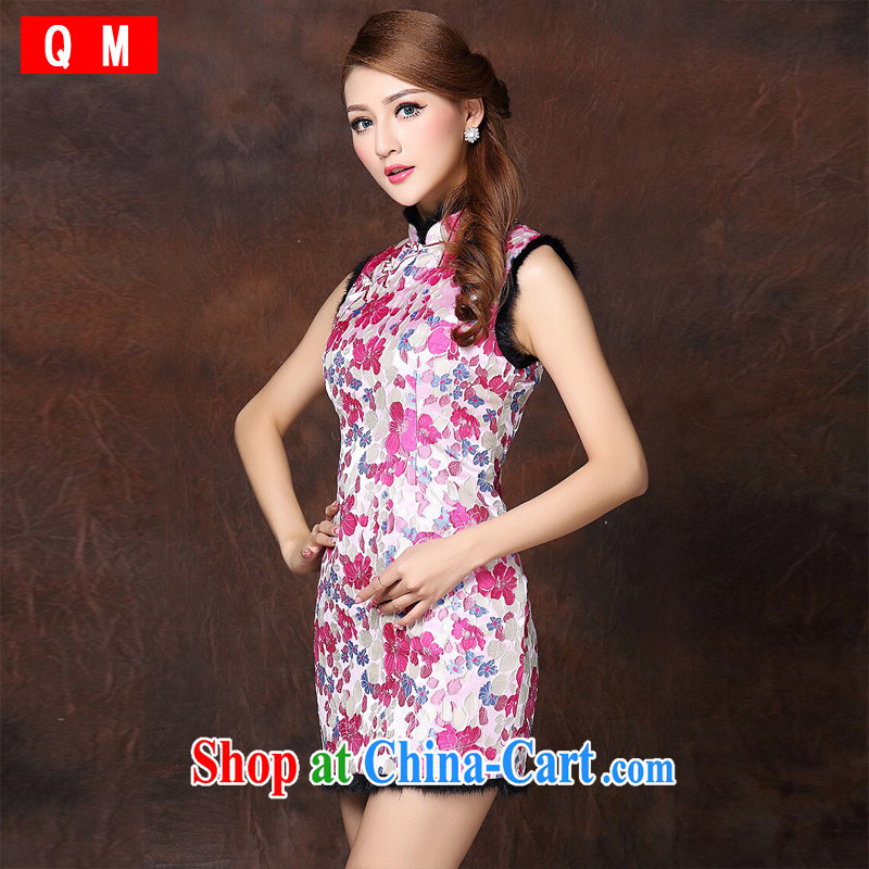 The end is improved and stylish sleeveless Folder unit does not turn on Ms. Lao cheongsam dress XWGQF of 141,014 red XL