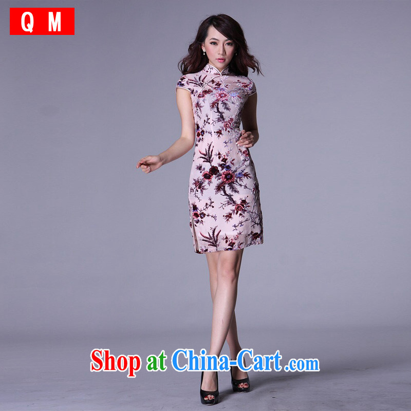 Shallow end improved Stylish retro short Chinese Silk Cheongsam sauna silk XWG picture color XXXXL