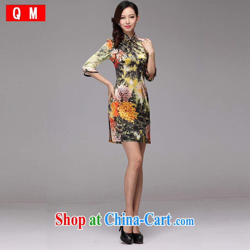 light at the original improved stylish and elegant silk huang ju daily Leisure Short qipao is tight XWG picture color XXXL