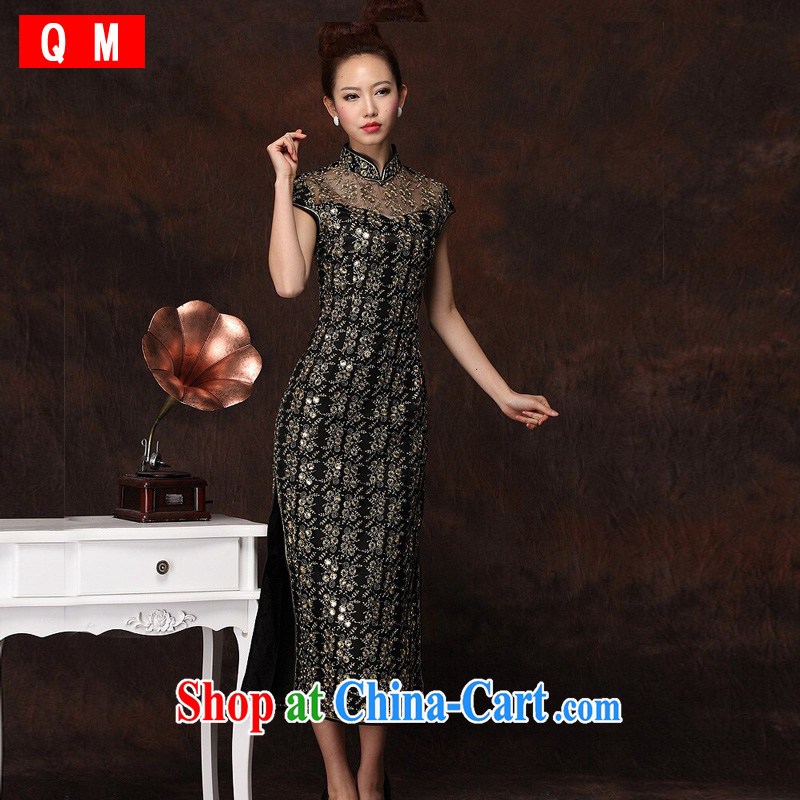 Shallow end improved stylish long cheongsam embroidery high's sexy retro banquet cheongsam dress female XWGQF - S 134 - 1 black XXXL
