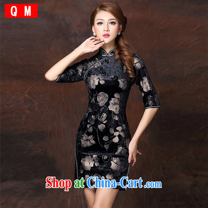 Shallow end female stamp improved Stylish retro 7 cuff wool short cheongsam XWGQF 141,003 picture color XXXL
