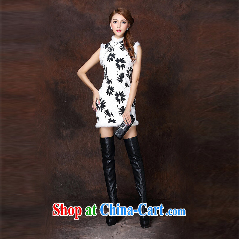 The end is very stylish and Improved spell gross sleeveless Folder unit does not turn on's short cheongsam XWGQF 141,011 picture color XL, shallow end (QM), shopping on the Internet