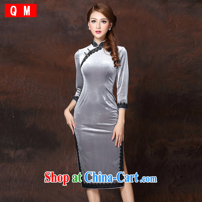 Shallow end lace stitching improved Stylish retro wool long cheongsam XWGQF 141,006 picture color XXXL
