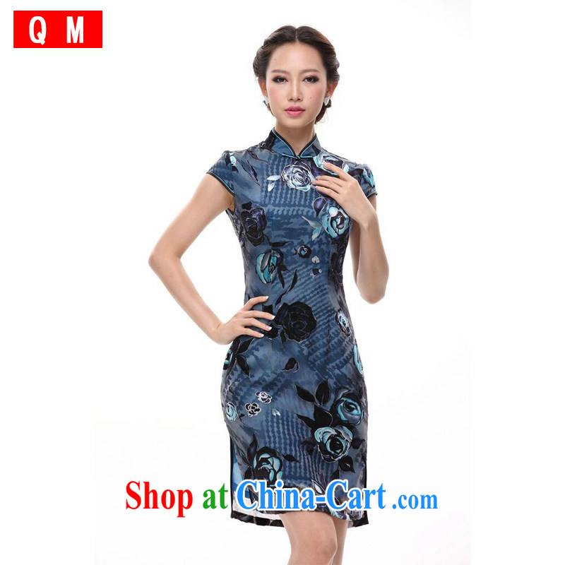 Shallow end antique Chinese improved stylish Silk Cheongsam dress blue XWG XXXL