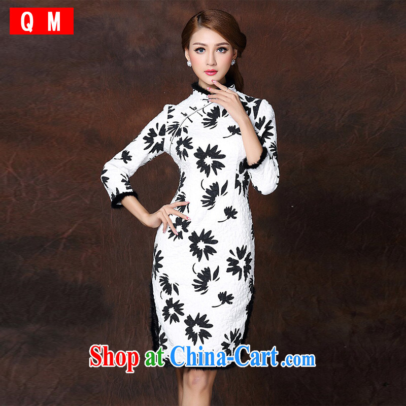 light at the improved modern spelling 7 gross per folder cuff cotton long cheongsam XWGQF 141,009 picture color XXL