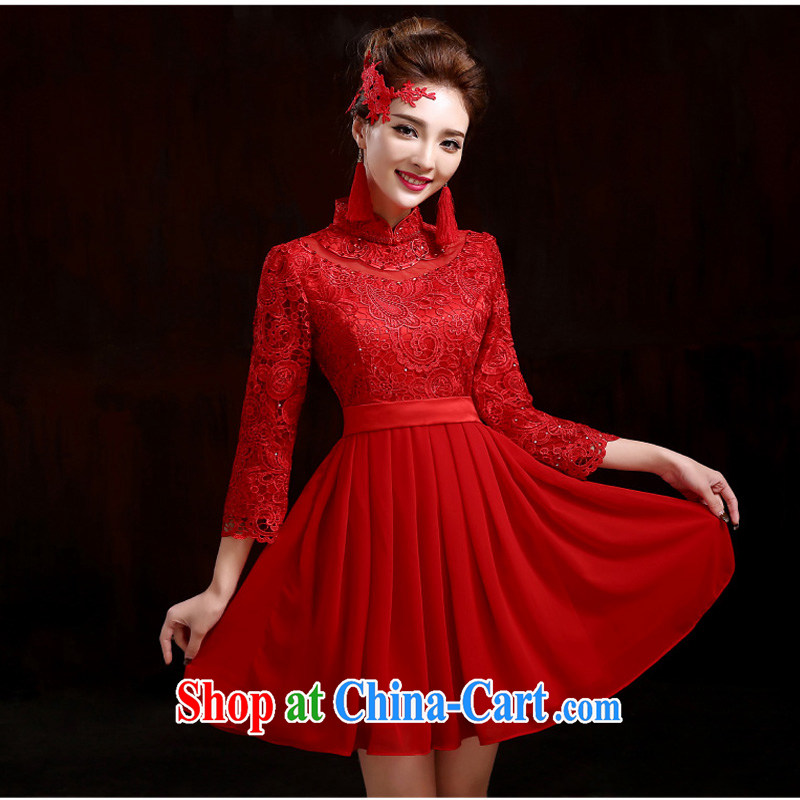 New winter dresses lace red wedding toast serving short bridal evening dress 9 cuff red outfit XXXL
