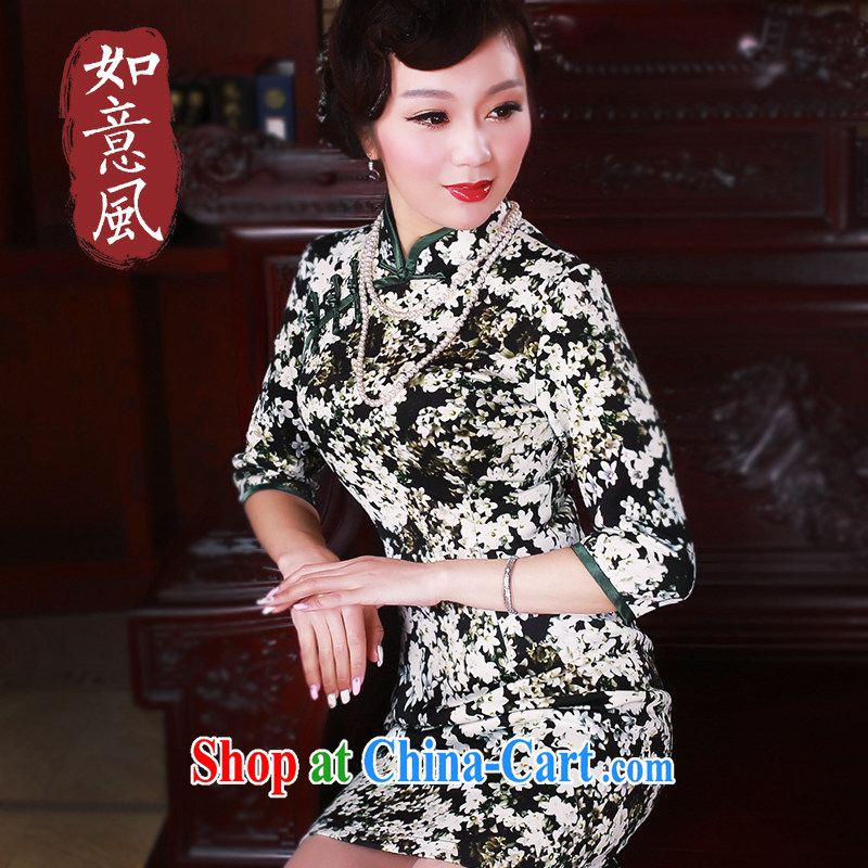 Unwind after the 2015 new improved daily 7 cuff cheongsam dress retro improved female cheongsam dress suit 5039 XXL