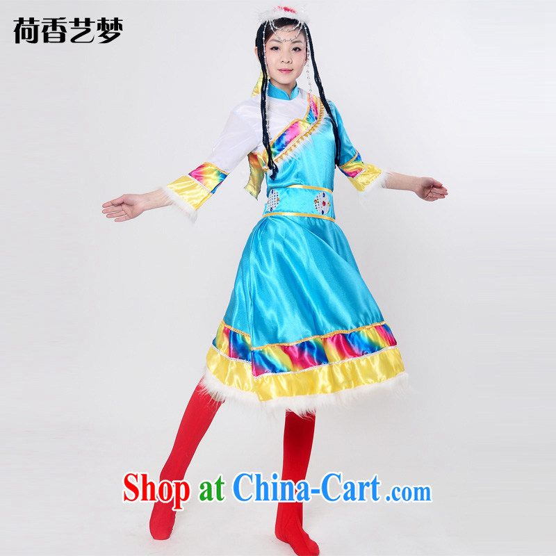 I should be grateful if you would arrange for her dream new Tibetan ethnic minority show clothing adult Hmong dance clothing Tibetan ethnic Mongolian dance clothing HXYM 0048 blue XXXL