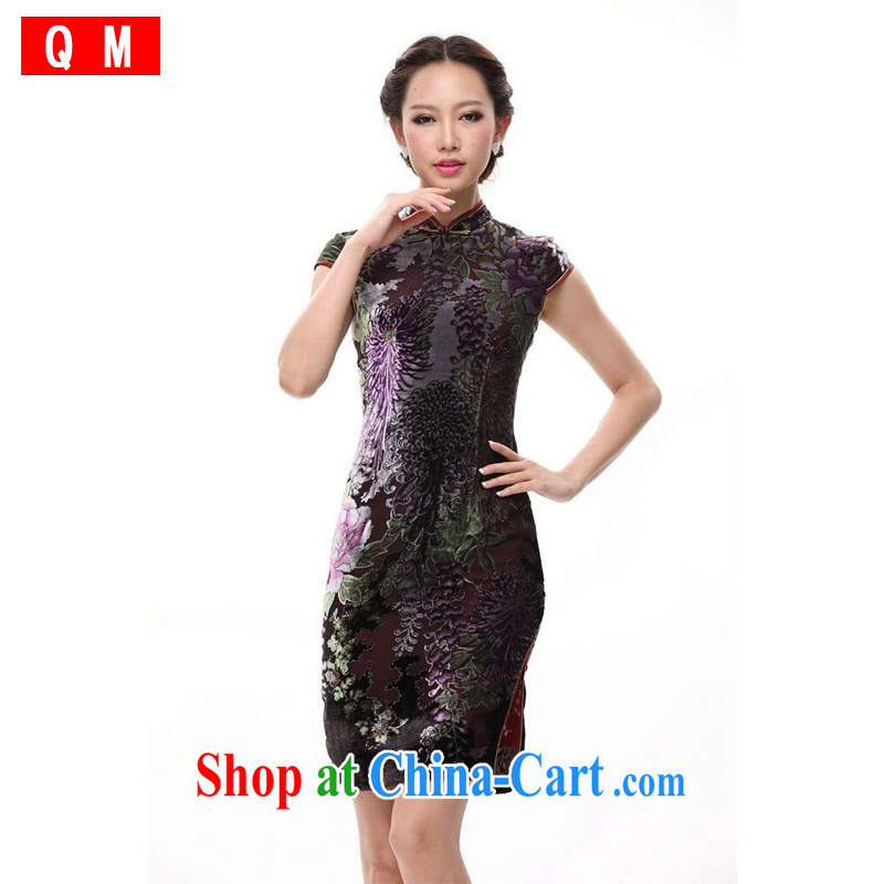 Shallow end improved stylish silk retro large code sauna Silk Cheongsam MOM skirt XWG picture color XXXL