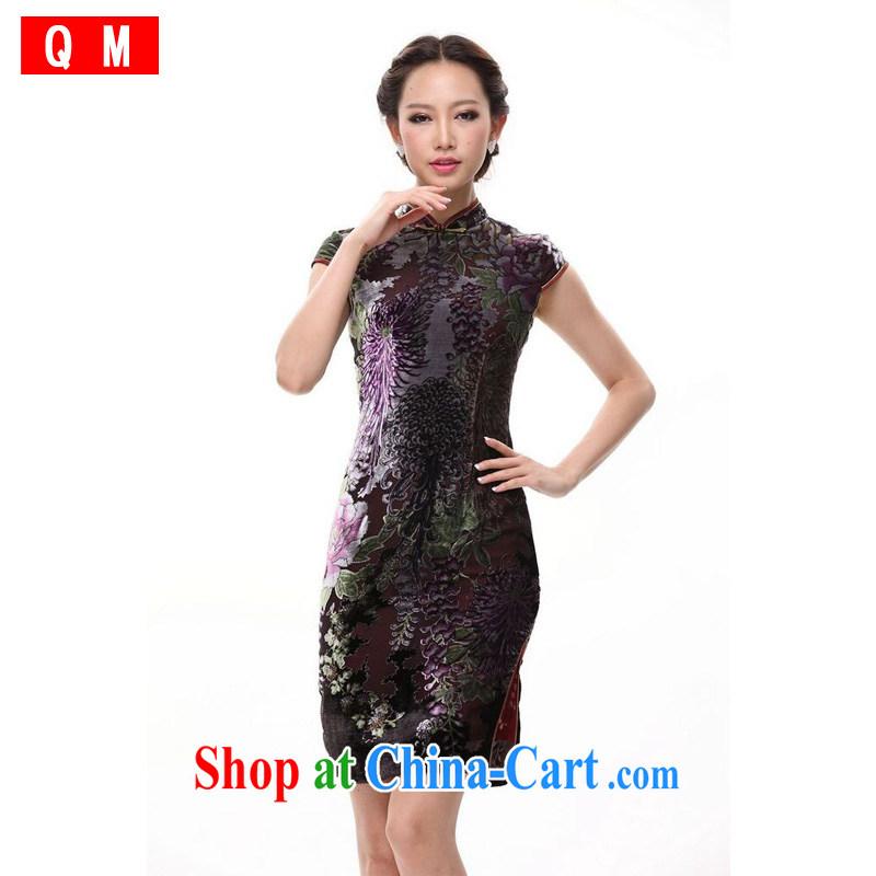 Shallow end improved stylish silk retro large code sauna Silk Cheongsam MOM skirt XWG picture color XXXL
