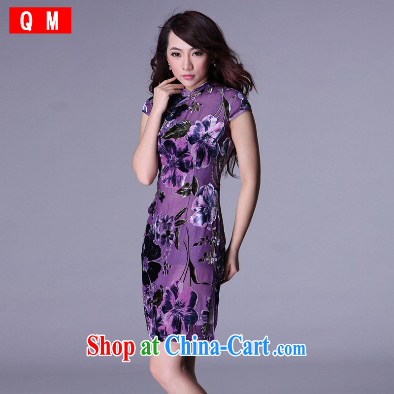 Shallow end improved stylish summer retro short Chinese qipao bows sauna silk XWG purple M