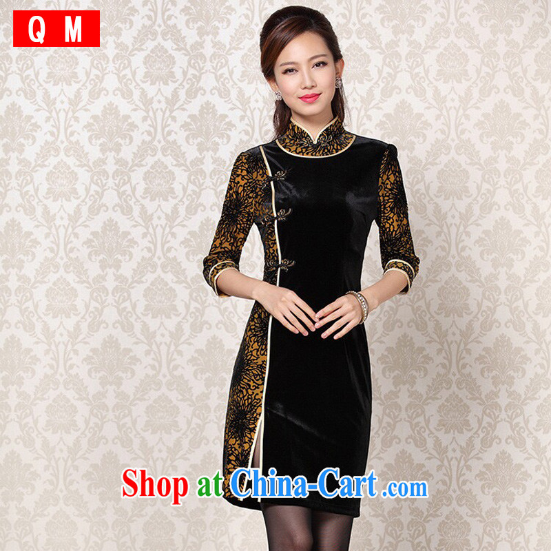 Shallow end improved Stylish retro wool stitching in short sleeves cheongsam XWGQF 13 - 6092 photo color L