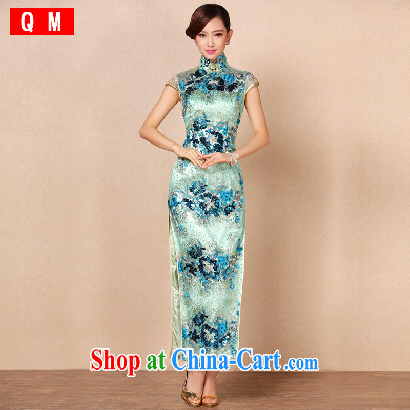 End very Stylish retro embroidery high on the truck long cheongsam dress dress XWGF - 6086 photo color XXL