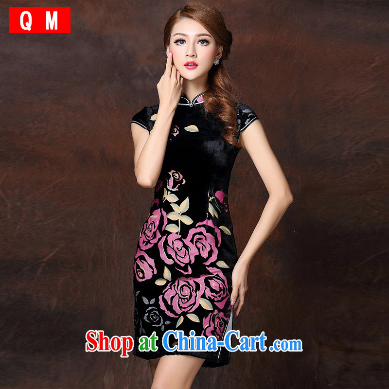 Shallow end improved Stylish retro sauna silk-Ms. lao daily short cheongsam XWGQF 141,017 red XXXL