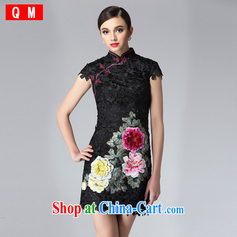 Very high end water-soluble lace cheongsam dress stylish and improved three-dimensional embroidery elegant qipao female XWGQF 8810 black XXL