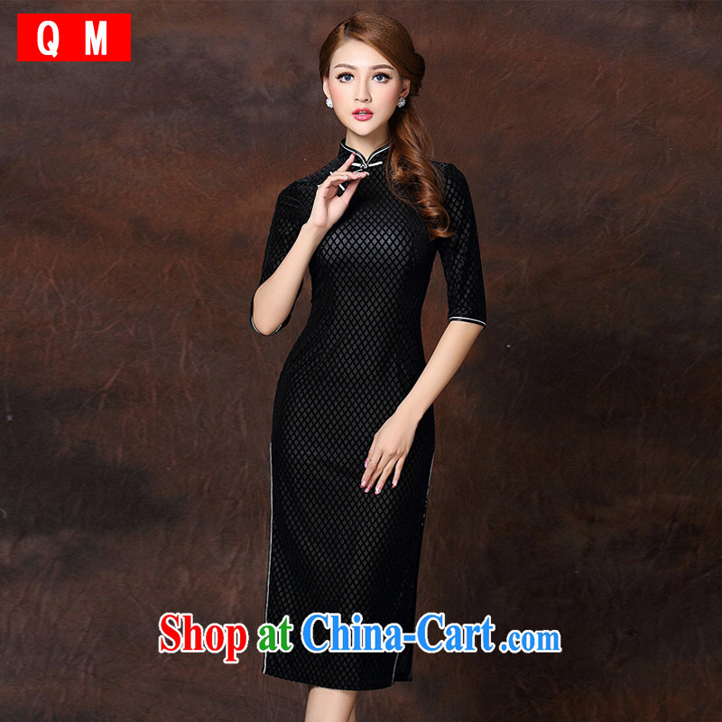 Shallow end improved Stylish retro long elegance velvet cheongsam dress XWGQF 141,007 black XXXL