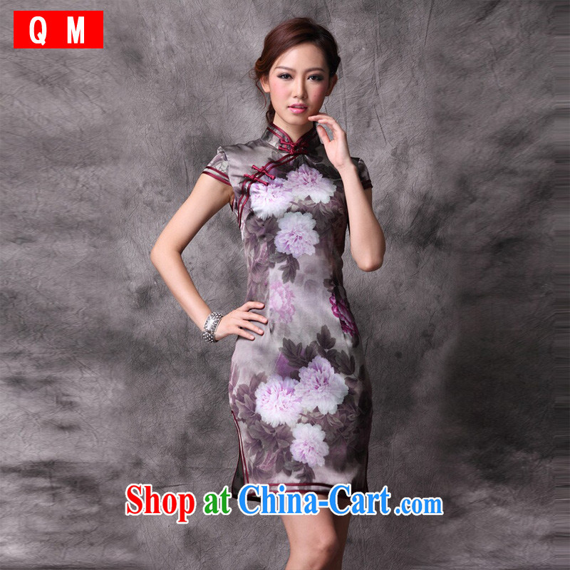 Light the heavy silk Chinese Peony cheongsam the code improved retro daily XWGQP 12,018 - 19 photo color XXXL