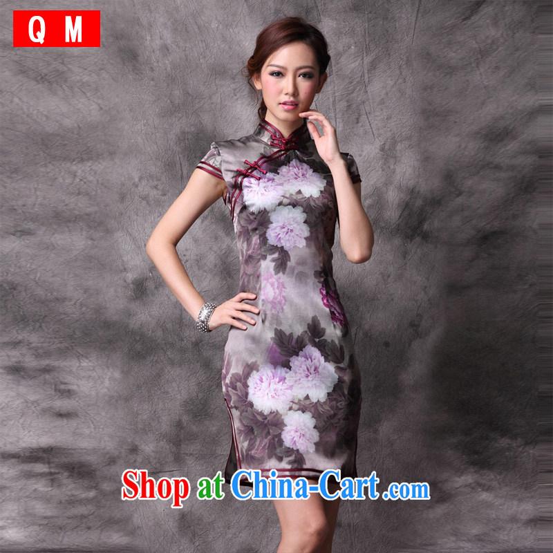 Light the heavy silk Chinese Peony cheongsam the code improved retro daily XWGQP 12,018 - 19 photo color XXXL
