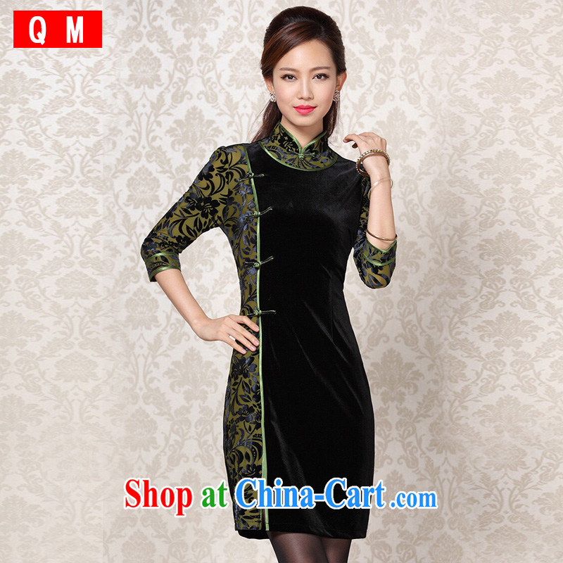 Shallow end improved Stylish retro wool stitching in short sleeves cheongsam XWGQF 13 - 6091 photo color XXL
