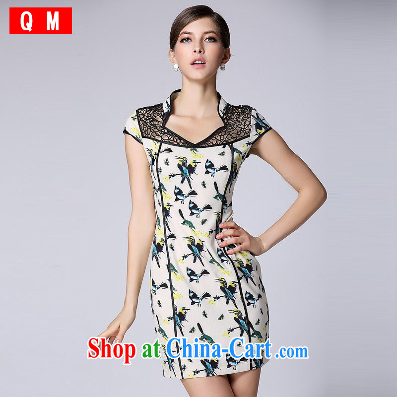 light at the improved modern cheongsam dress short-sleeved Openwork no's cheongsam XWGQF 140,401 picture color XXL