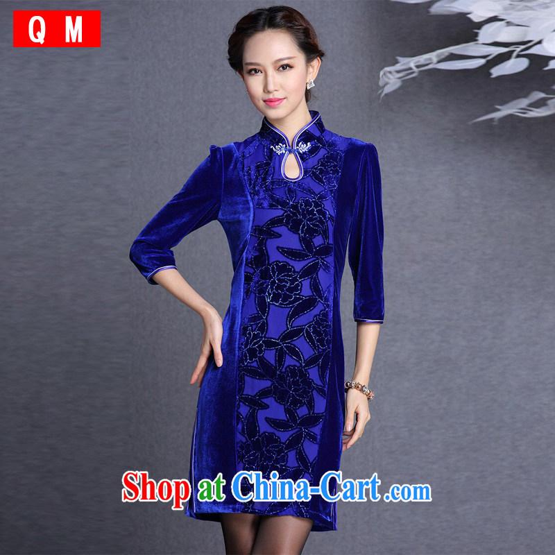 Light the cheongsam stylish improved retro wool stitching in short sleeves cheongsam XWGQF 1309 - 13 photo color XXL