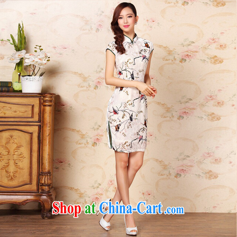 The end is improved and Stylish retro silk sauna silk daily Leisure Short cheongsam XWG QF 1305 - 1 pictures color XXXL, light (at the end) QM, shopping on the Internet
