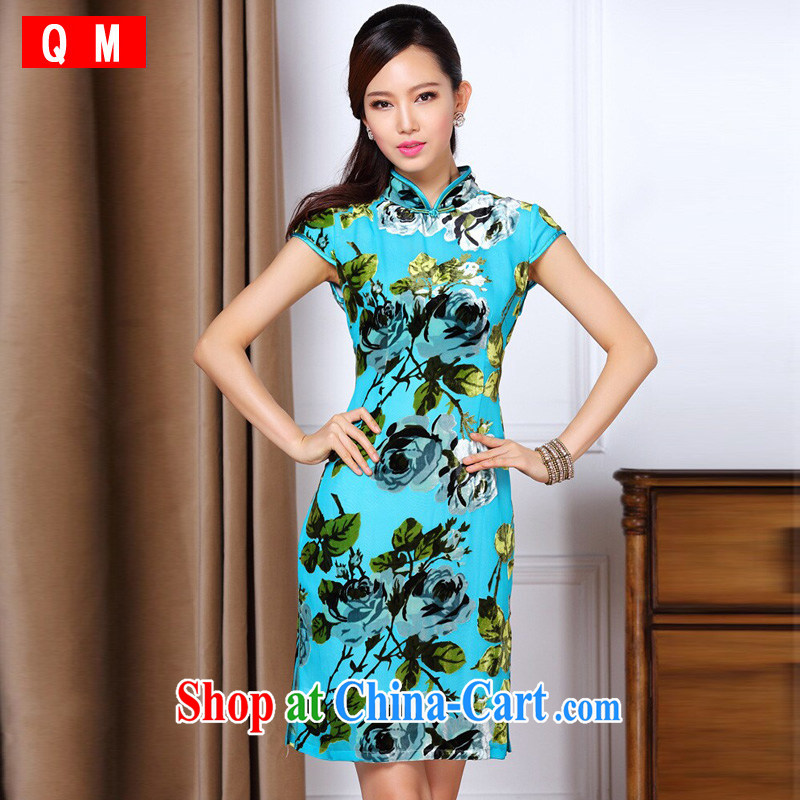 Shallow end improved stylish low-power's Sauna silk daily short cheongsam XWGQF 1307 - 86 blue XXXL