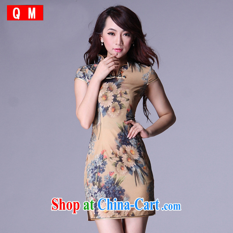 Shallow end improved Stylish retro casual low-power's short cheongsam dress XWG picture color XXL