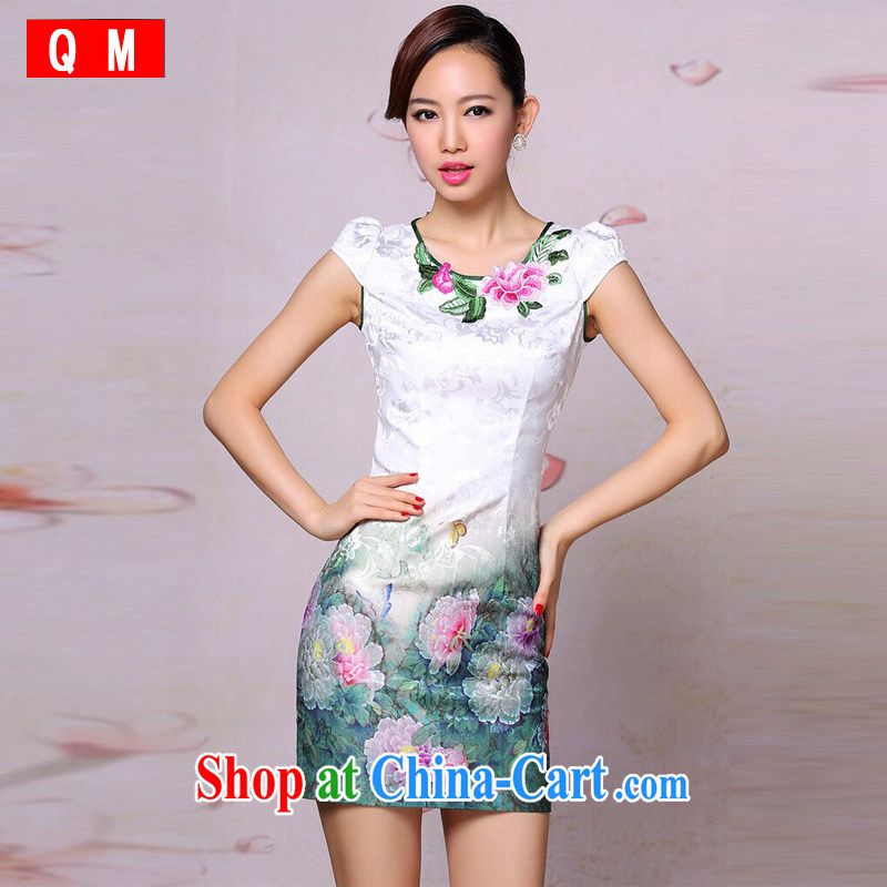 The end is very stylish and improved cheongsam dress retro embroidered daily Leisure Short cheongsam dress XWGQP 201,304 - 19 photo color XXL