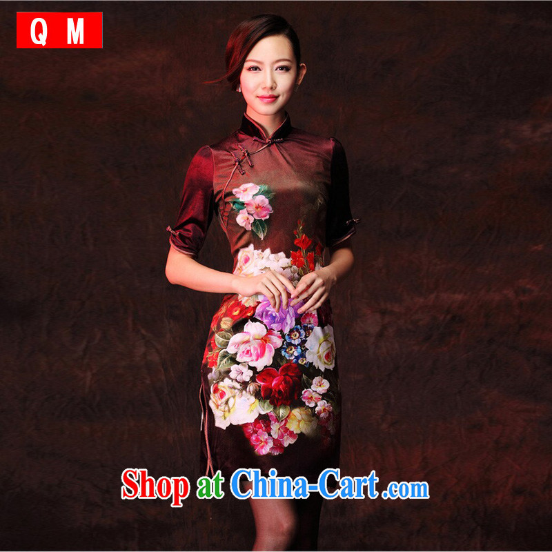 light at the scouring pads stamp improved retro fashion daily short cheongsam sleeves in XWGQP 1208 - 26 photo color XXXL