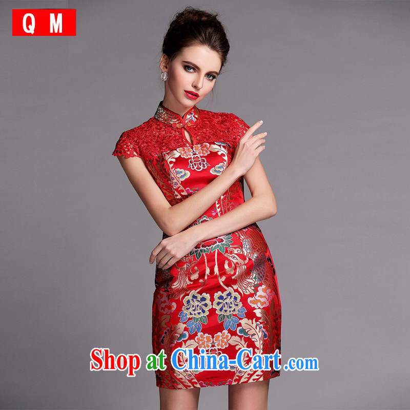 The end is very stylish and improved water-soluble cheongsam sexy wedding dress XWGQF 140,505 red S