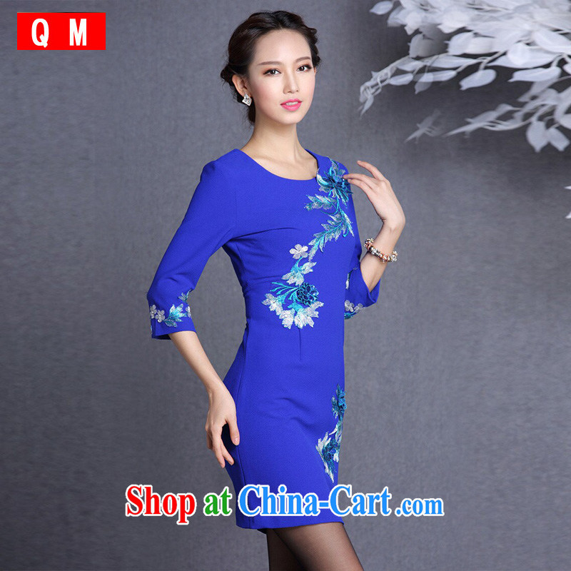 Shallow end improved stylish embroidered in short sleeves cheongsam XWGQF 1309 - 13 blue XXL