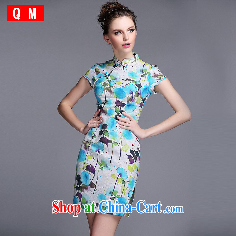 light at the linen water and ink stamp-Korea Lao wind short cheongsam XWGQF 140,531 picture color XXL