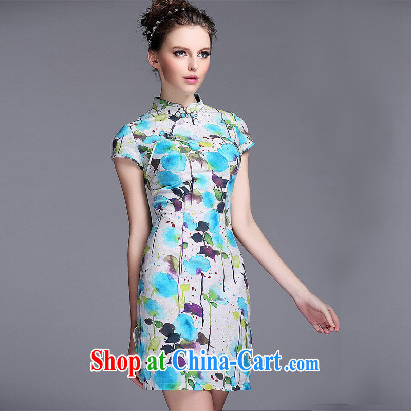 light at the linen water and ink stamp-Korea Lao wind short cheongsam XWGQF 140,531 picture color XXL, light (at the end QM), shopping on the Internet