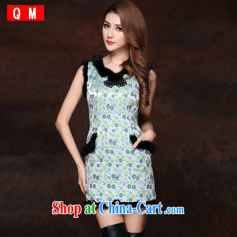 light at the improved stylish spell gross sleeveless quilted is not the Lao short cheongsam XWGQF 141,012 fruit green XXL