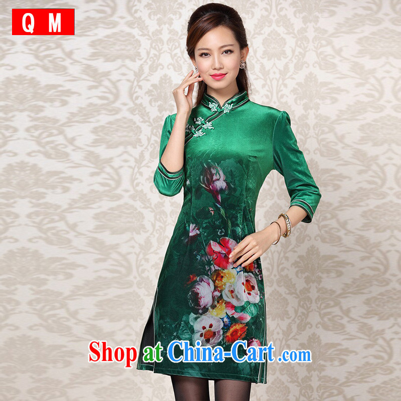 The end is very stylish retro wool stamp duty double ends in short sleeves cheongsam XWGQF 13 - 26 emerald green XXXL
