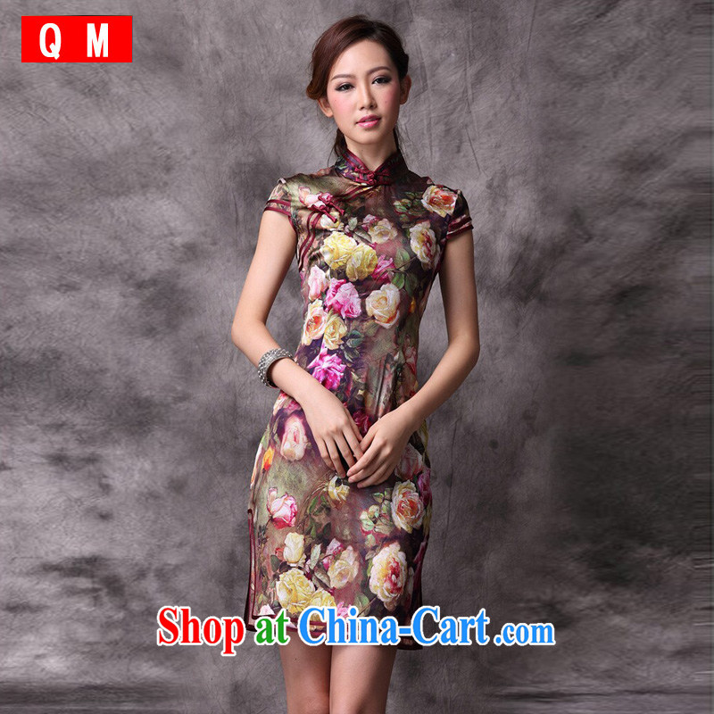 light at the Silk Cheongsam qipao day skirt high-end female improved stylish summer XWGQP 12,018 - 22 photo color XXXL