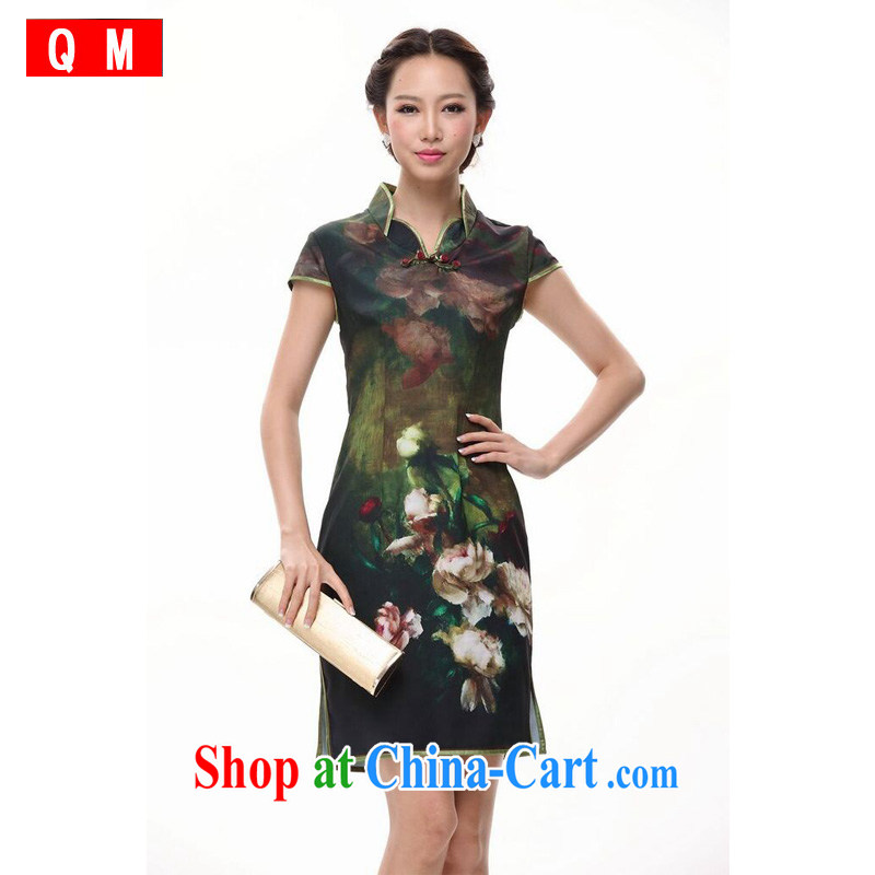 light at the improved sepia ink Peony cheongsam dress skirt short Chinese XWGQP 002 - 5 green XXL
