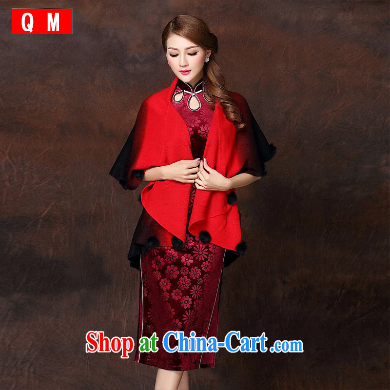 Shallow end female dresses accessories gradient three-dimensional ball gross cloak batch shoulder XWGQF 141,016 red