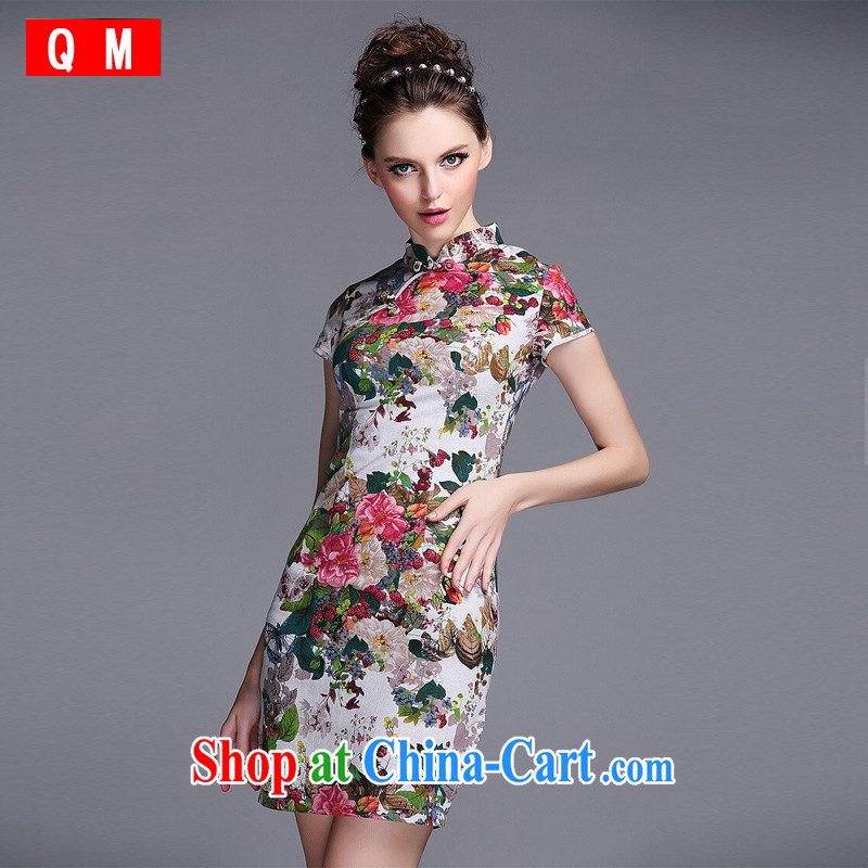 light at the linen water and ink stamp-Korea Lao wind short cheongsam XWGQF 140,530 picture color XXL