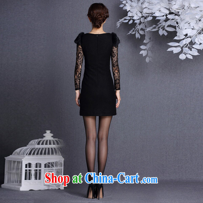 light at the improved stylish Beauty and Hair shoulder embroidered hair so short cheongsam XWGQF 13,017 black XXL